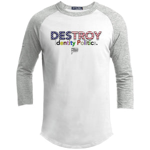 CustomCat Apparel YT200 Sport-Tek Youth Sporty T-Shirt / White/Heather Grey / YS Destroy Identity Politics 2.0