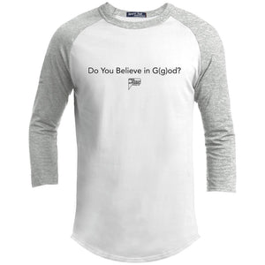 CustomCat Apparel YT200 Sport-Tek Youth Sporty T-Shirt / White/Heather Grey / YS do you believe in god merged and stroked Men's Raglan Baseball Shirt