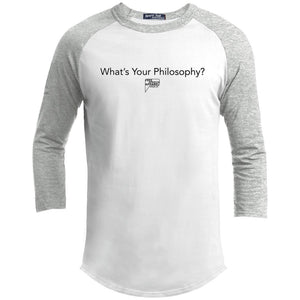 CustomCat Apparel YT200 Sport-Tek Youth Sporty T-Shirt / White/Heather Grey / YS whats your philosophy merged and stroked Men's Raglan Baseball Shirt