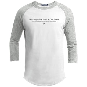 CustomCat Apparel YT200 Sport-Tek Youth Sporty T-Shirt / White/Heather Grey / YS xfiles objective truth merged and stroked Men's Raglan Baseball Shirt