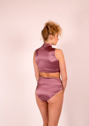 Grace: Stretch Silk Satin Crop Top. 19 Colors