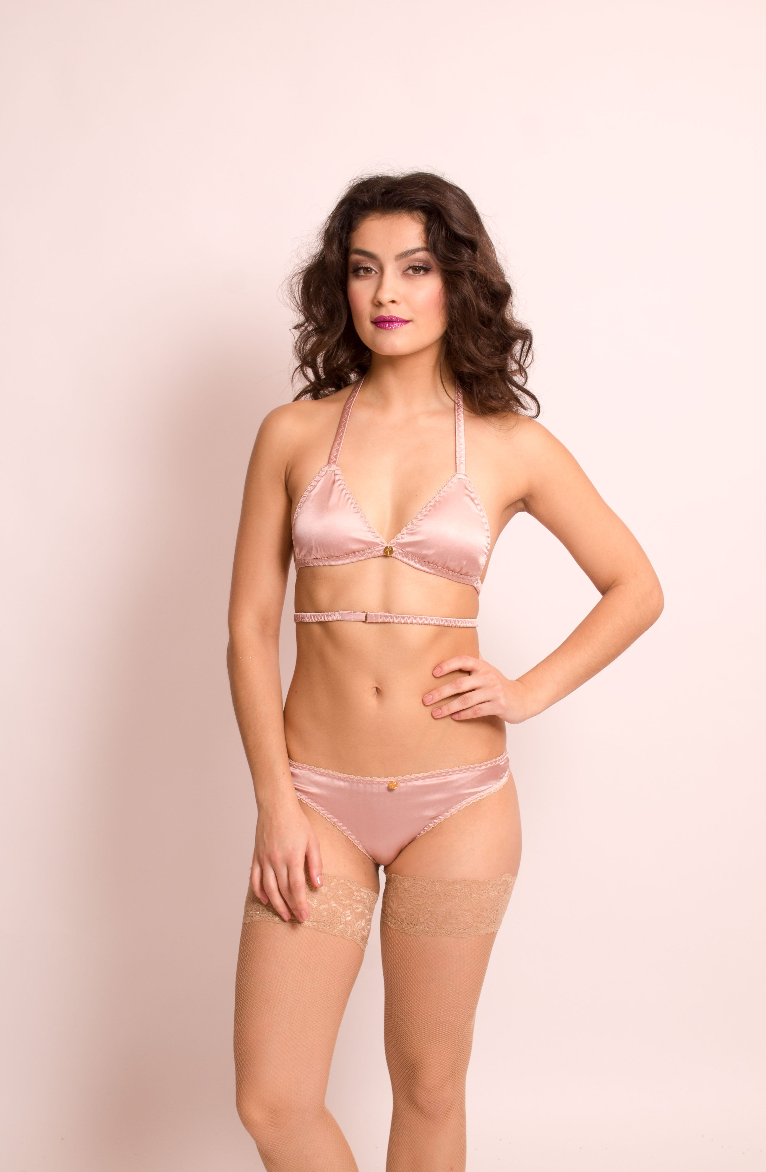 Aphrodite: Silk Satin Soft Cup Halter Neck Bra. 19 colors.