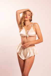 Silk lingerie set: Astrild silk bra and Thalia bias cut silk satin panties. 8 colors to choose from