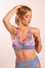 Daphne: Silk Satin Soft Cup Bra with lace applique