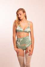 Silk lingerie set, hummingbird lace appliques: Dione bra, Dione panties and Dione suspender belt.