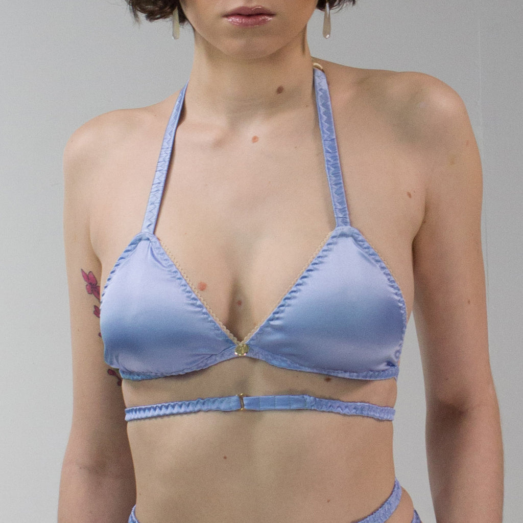 Aphrodite: Silk Satin Soft Cup Halter Neck Bra. 19 Colors