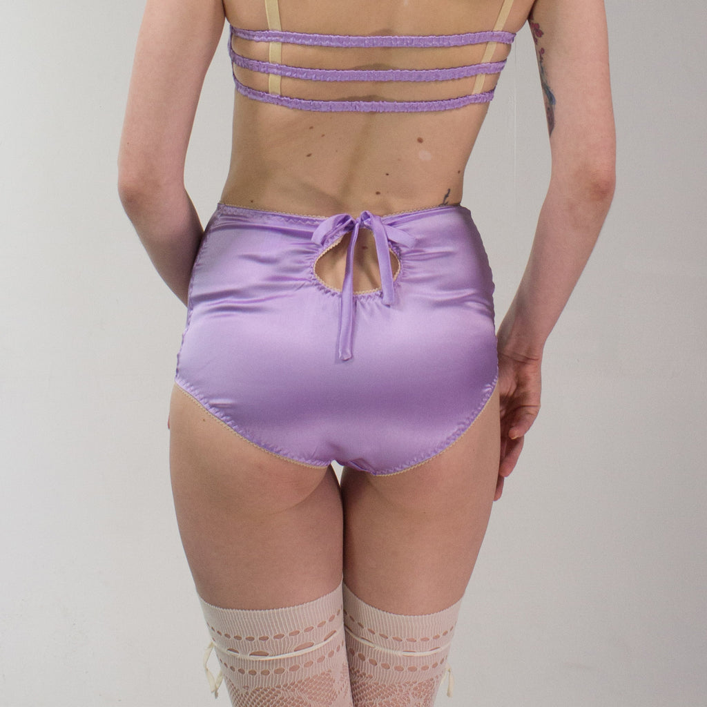 Freya: Silk Satin High Waisted Panties with Keyhole at the Back. 19 Colors.