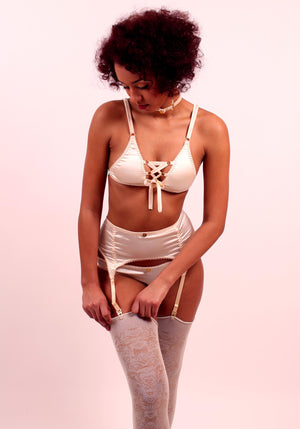 Astrild: Triangle Silk Satin Soft Cup Bra with a Lace-up Detail. 19 Colors
