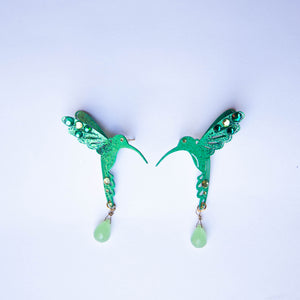 Green Hummingbird earrings