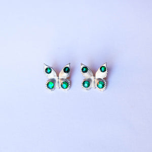 Green Silvery Butterfly earrings