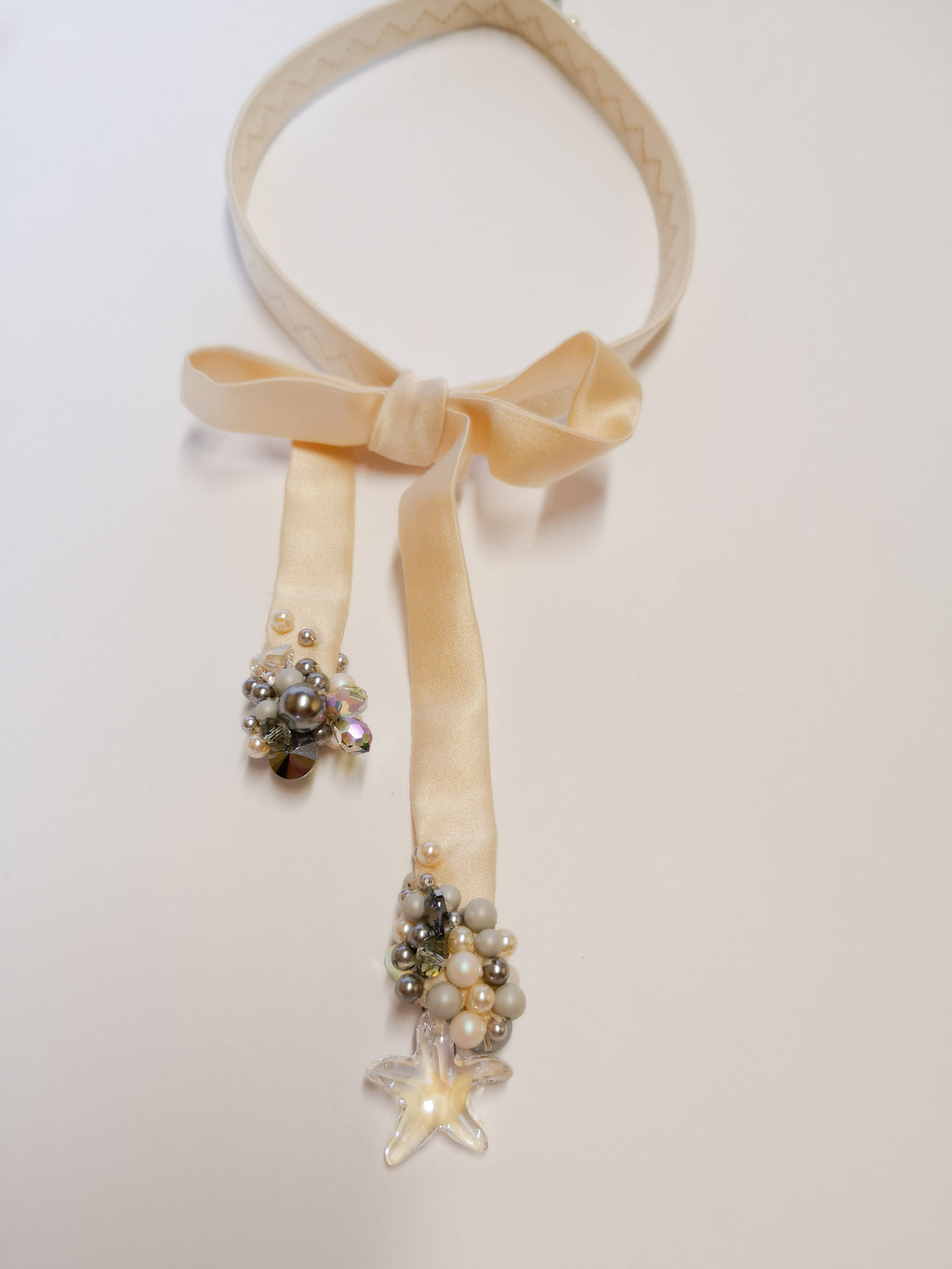 White silk and Swarovski necktie