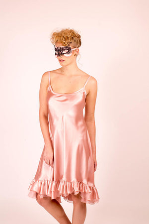 Sabrina: Blush pink silk satin sleeping mask with lace