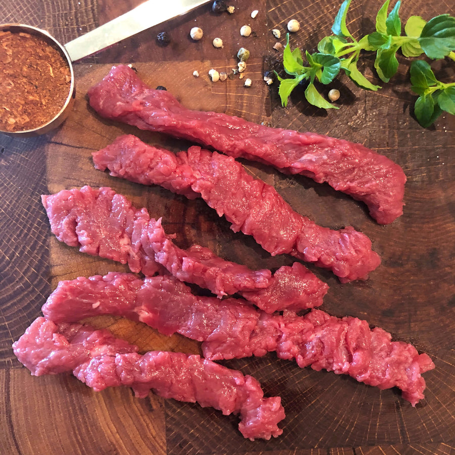 Regenerative Beef steak strips. Grass-fed Tenderized fajita steak strips. Kiss the Ground type farms. REP Provisions - The Regenerative Company.