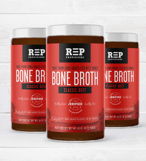 Regenerative Grass-fed Beef Bone Broth - Like from Kiss The Ground Documentary. REP Provisions - The Regenerative Company.