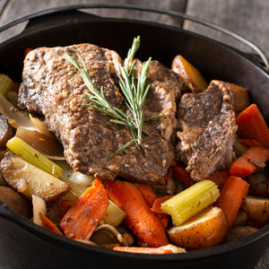 Regenerative Grass-fed Beef Roast from Small Family Farms in slow-cooker, REP Provisions - The Regenerative Company.
