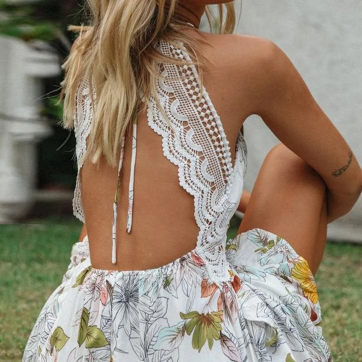 Anya's Backless Floral Dress