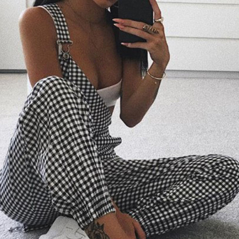 Checkered Over-All Jumpsuit