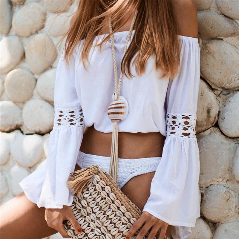 Off-Shoulder Chiffon Blouse