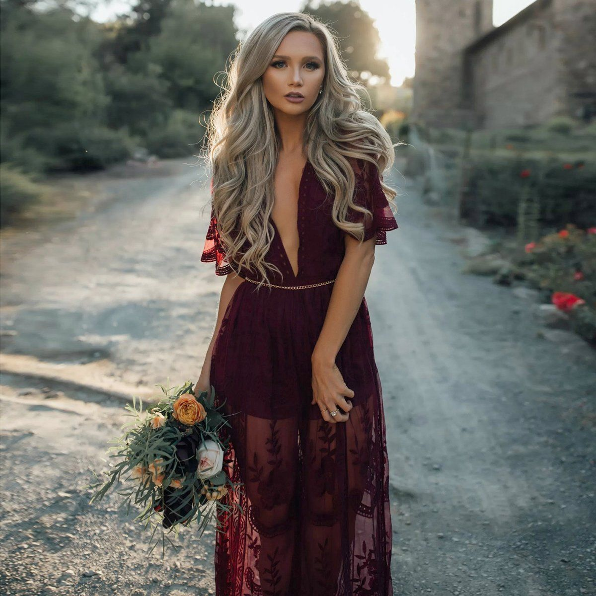 Lace Split Maxi Dress