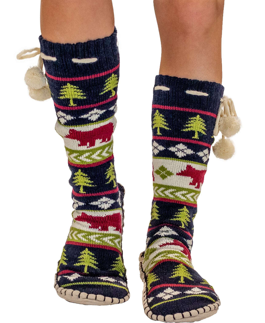 Bear Fair Isle Adult Mukluk Slipper
