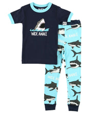 Load image into Gallery viewer, Wide Awake Kid's Short Sleeve Shark PJ's