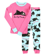 Load image into Gallery viewer, Bearly Awake Kid's Long Sleeve Pink PJ Set