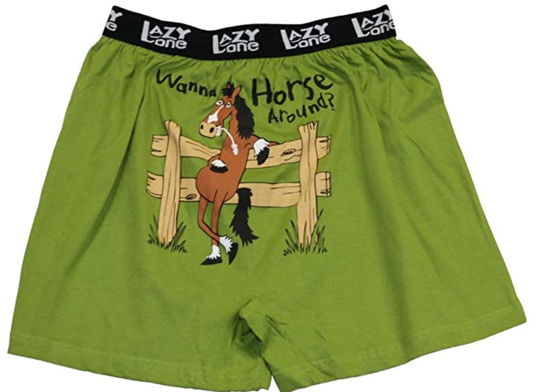 Wanna Horse Around Men's Comical Boxers