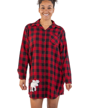Load image into Gallery viewer, Flannel Plaid Moose Button Night Shirt