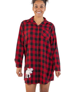 Flannel Plaid Moose Button Night Shirt