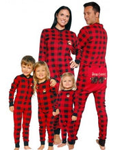 Load image into Gallery viewer, Bear Cheeks Buffalo Plaid Adult Flap Jack Onesie
