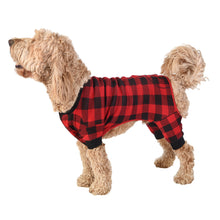 Load image into Gallery viewer, Bear Cheeks Plaid Dog Onesie Flapjack