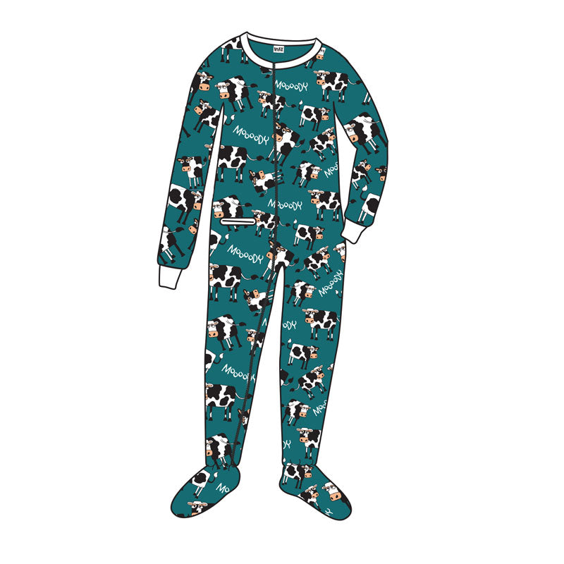 Lazy One - Moody In The Morning - Teal Kids Footed Pj