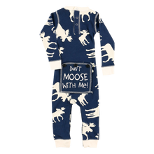 Load image into Gallery viewer, Classic Moose Infant Blue Onesie Flapjack