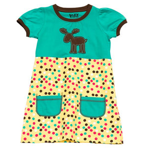 Lazy One - Polka Dot Moose - Kids Tee Dress