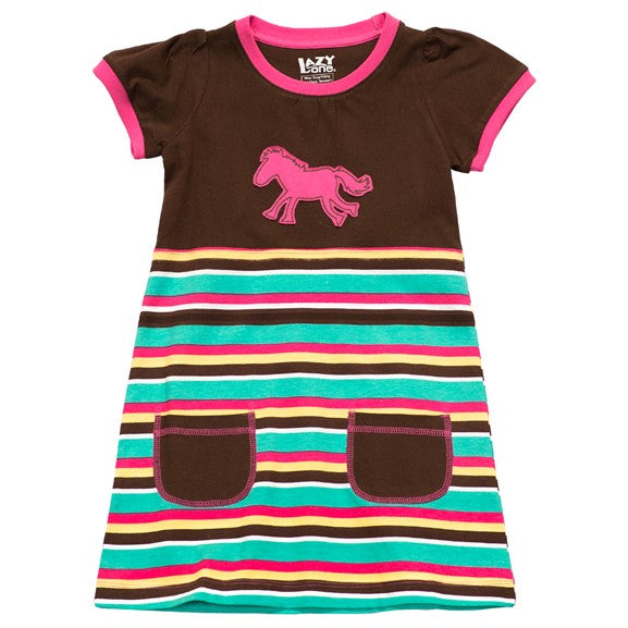 Lazy One - Horse Stripe - Kids Tee Dress