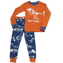 Load image into Gallery viewer, Lazy One - Dino Bone Tired - Kids Pj Set