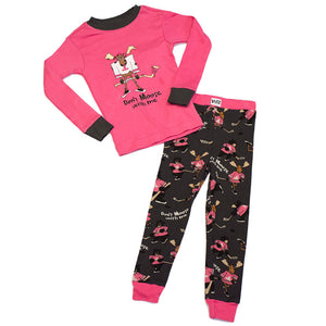 Lazy One - Moose Hockey Pink - Kids Pj Set