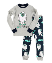Load image into Gallery viewer, Yeti For Bed Kid's Long Sleeve Grey PJ's