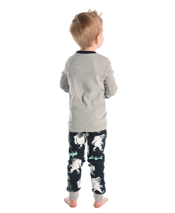 Yeti For Bed Kid's Long Sleeve Grey PJ's
