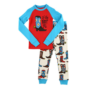 Lazy One- If The Boot Fits Kids Pj Sets