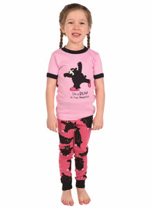Lazy One - Bear In The Morning Pink - Kids S/S Pj Set