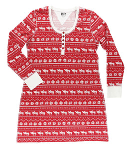 Nordic Moose Long Sleeve Nightshirts