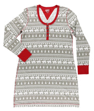 Load image into Gallery viewer, Nordic Bear Long Sleeve Nightshirt