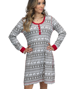Nordic Bear Long Sleeve Nightshirt