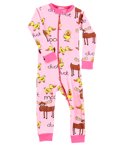 Duck Duck Moose Pink Union Suit