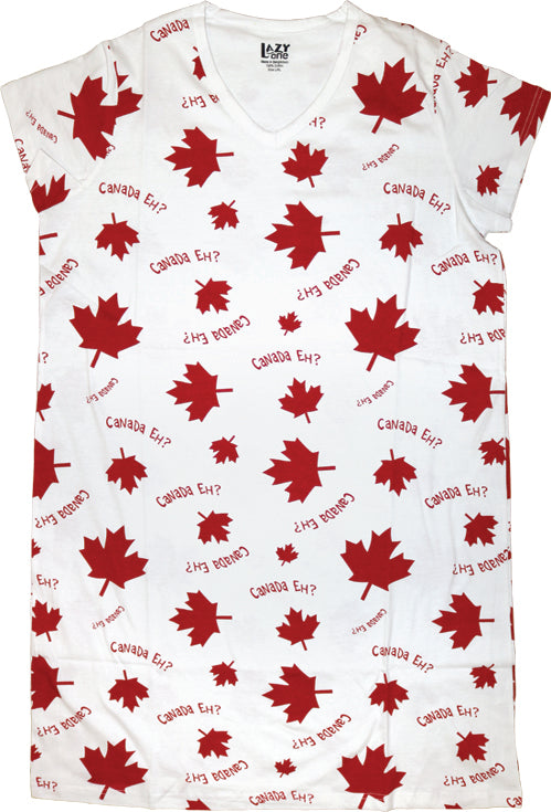 Canada Eh? White Women's V-neck Nightshirt