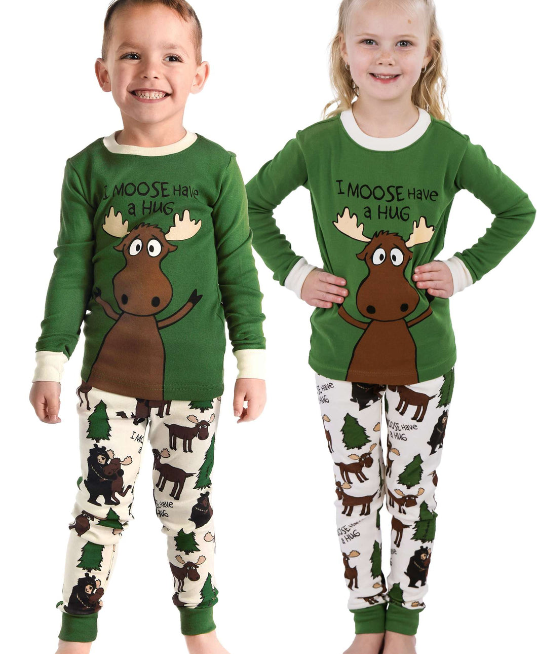 Moose Hug Kid's Long Sleeve Green PJ's