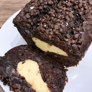SMOKED SEA SALT CHOC CHEESECAKE BANANA LACTATION LOAF