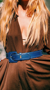 YVES SAINT LAURENT deep blue belt