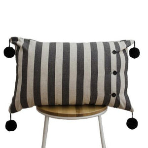 Stripes and Pom Poms Cushion